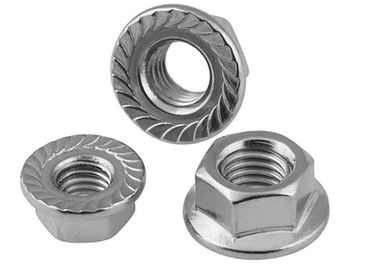 Serrated Flange Lock Screw Nut And Washer For Machinery , Zinc Plated Hex Flange Nut
