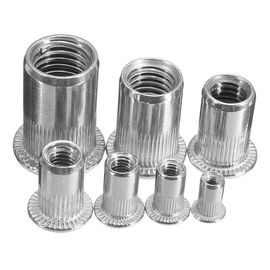 Zinc Plated Carbon Steel Blue White Knurled Body Rivet Nut Flat Head Threaded Insert Nutsert