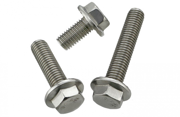 Serrated Flanged Hex Head Cap Screw Partical Thread / Metric Thread Gray Nickel