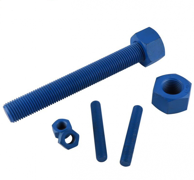 "Xylan Blue Heavy Duty Threaded Rod With Heavy Nuts 1/2 ""-13 X 3-1/4 "" 1000 - 4000mm"